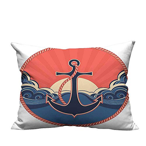 fengruihome Home DecorCushion Covers Label Robe and Sea at Sunset Anchor Retro Sailing Aquatic Life Red Perfect for Travel 13.5x19 inch(Double-Sided Printing) - Envelope Red Robe Cotton