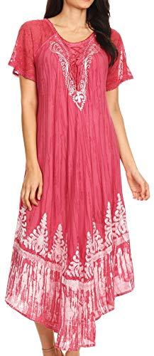 Sakkas 17260 - Devora Women's Maxi Nightgown Caftan Kaftan Dress Tie Dye Batik & Corset - Blush - ()