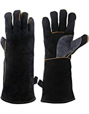 Monland Extreme Heat&Fire Resistant Gloves Leather with Stitching,Mitts Perfect for Fireplace,Stove,Oven,Grill,Welding,BBQ,Mig,Pot Holder,Animal Handling,Black 14 Inches