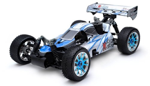 Exceed RC 1/8th Scale MadFire .21 Nitro Power 4WD RC Buggy 100% Ready to Run for Beginners 2.4Ghz Radio Control [Alpha Blue] REQUIRED TO RUN and SOLD SEPARATELY: STARTER ()