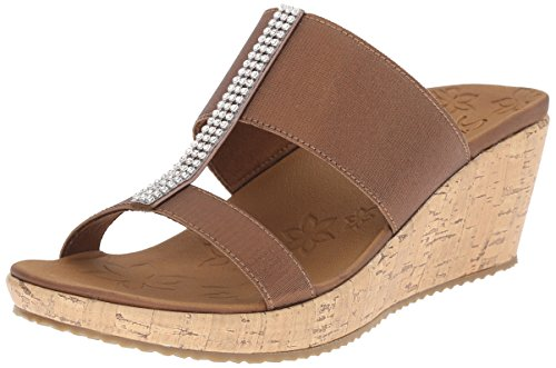 Stretch Comfort Sandal (Skechers Cali Women's Beverlee Wedge Sandal, Bronze Gem, 9 M)