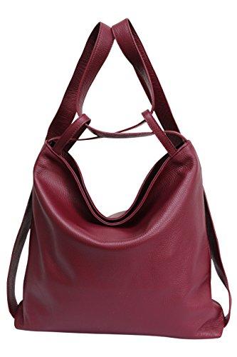 para de bolsos cuero AmbraModa 1 mujer de bolsos 2 en Bolsos mano hombro GL019 con mochila Burdeos de XAqqwB