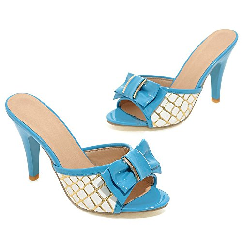 à Haut Peep Talon Toe TAOFFEN Femmes Blue Mules Bowknot gwpqxz