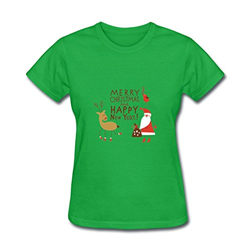 Crazy Costumes 2016 (TSHIRT COLOR Women's MERRY CHRISTMAS 2016 HAPPY NEW YEAR Costumes T-shirt Forest Green L)