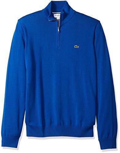 Lacoste Men's Long Sleeve 1/4 Zip Cotton Mock Neck Sweater, Royal/Flour/Marino, Medium