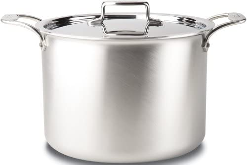 All-Clad BD55512 D5 Brushed 18 10 Stainless Steel 5-Ply Bonded Dishwasher Safe Stock Pot with Lid Cookware, 12-Quart, Silver