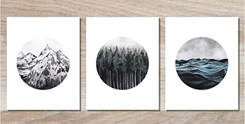(Landscape Wall Art - Mountain Forest Ocean Prints - Set of 3-8x10 - Nature Decor - Unframed)