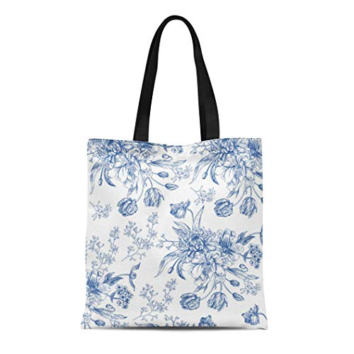 Semtomn Cotton Line Canvas Tote Bag Chinoirise Blue Toile Flowers Boho Chic Baby White Pattern Reusable Handbag Shoulder Grocery Shopping Bags