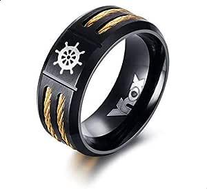 خاتم رجالي أسود وذهبي يحمل شعار Vnox والمقاس 8