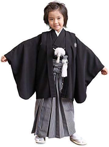 男の子黒紋付簡易袴セット 3才(100cm) 数5才(110cm) 満5才(115cm) 7才(120cm) 男児 着物