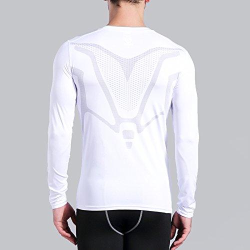 blanche compression hommes Chemises à de manches longues manches d'Amzsport longuescouche fonctionnelles pour Chemise à lF1JTKc