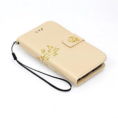 SRY-case LG K3 correa de la caja del estuche de la cubierta sintética funda de cuero de la PU Folio cartera de la caja con la cubierta del caso del patrón de flores grabadas en relieve para LG K3 ( Co Gold