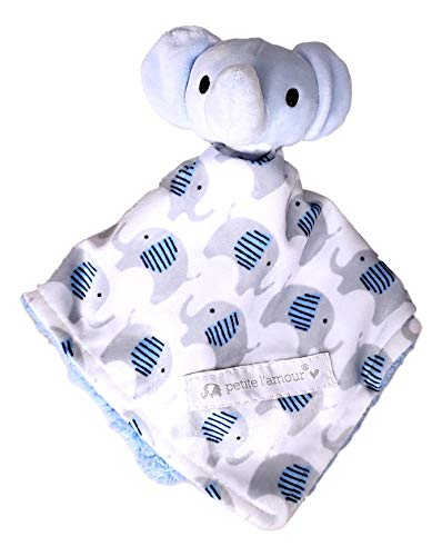 - Baby Snuggle Buddy Security Lovey Lovie Cuddle Blankie Blanket - Can be Personalized (Blue Elephant)