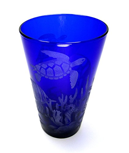 Hand Etched 17.25 Ounce Cobalt Blue Cooler Glass Goblet S...