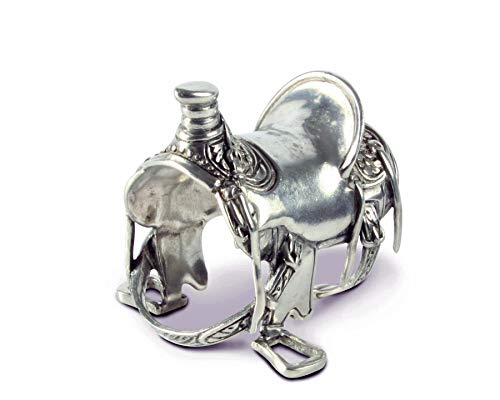 (Vagabond House Pewter Cowboy Western Saddle Napkin Ring; 2.5 inches Tall Artisan Crafted Designer Ring (Sold as Single Ring))
