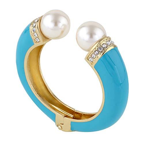 KAYMEN FASHION JEWELLERY Gold Tone Adjustable Double Pearls Cuff Bangles Bracelets for Women ()