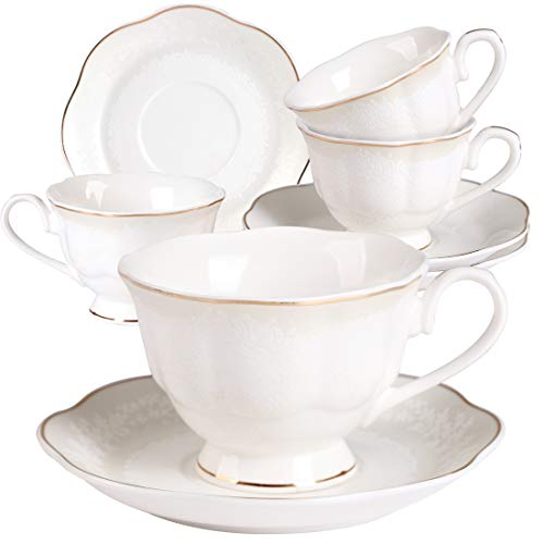 Porcelain Tea Cup and Saucer Set - White Embossed Floral 7OZ Coffee Cup and Saucer Set with Golden Edge Set of 4 for Tea Cappuccino Latte and - Saucer Tea Edge