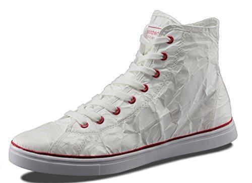 Unstitched Verktyg Mens Nästa Dag Mid Designer Tyvek Mode Hög Topp Vit / Röd