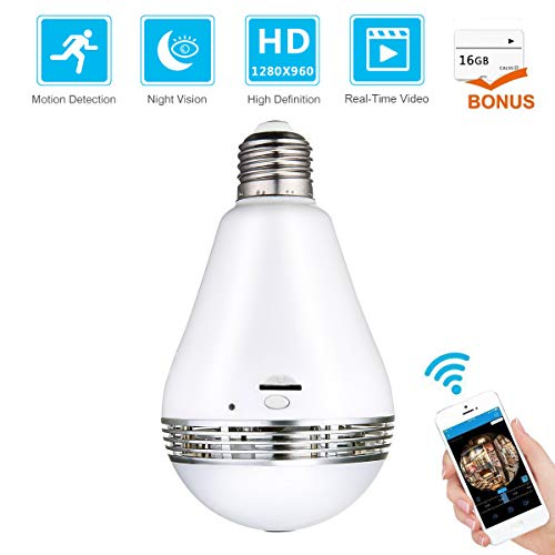 Meco WiFi Bulb Security Camera - Bonus 16GB Micro SD Card