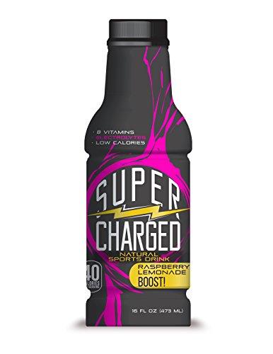 (SuperCharged Natural Energy Drink, Raspberry Lemonade-16oz bottles (12 pack) Delicious sports drinks w/green tea, Vitamins B6 & B12. Healthy fuel for you & your whole family! Great for workout.)