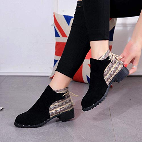 Tube Tube Boots Zipper Block Ladies 2 2 2 Nero Scarpe CN Flcok Casual Martin Boots up Boots Middle Clearance 5 35UK Lace Dimensione Beige Colore Heel Szpvqqx