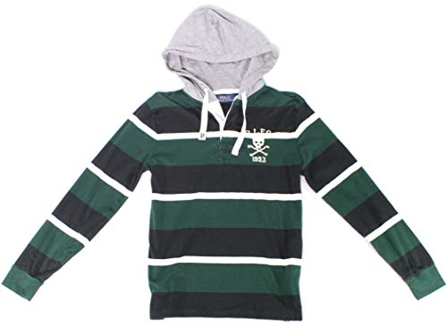 RALPH LAUREN Polo Mens Cotton Hooded Skull Rugby Shirt Green (X-Large)