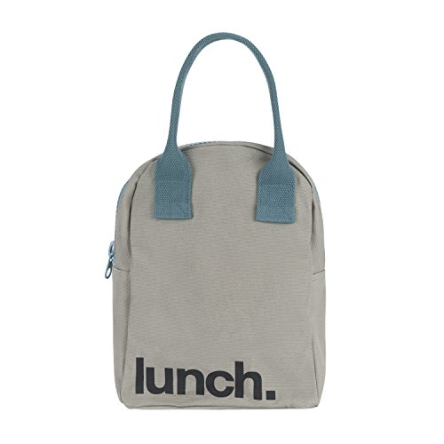 Fluf Reusable Canvas Lunch Bag | Lunch Box for Women, Men, Kids | Organic Cotton Meal Tote with Zipper | Midnight Zip