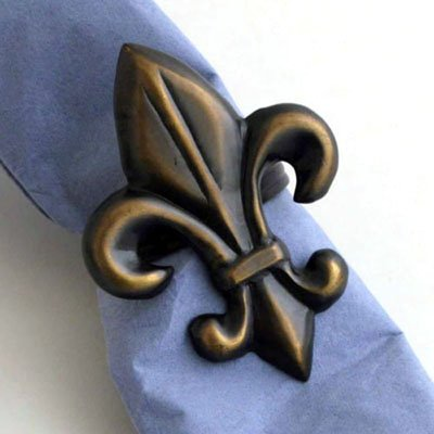 Bronze Fleur de Lis Napkin Ring. - Set of 4