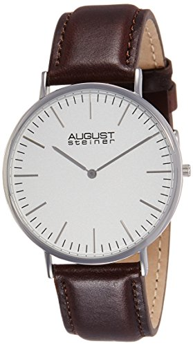 August-Steiner-Mens-AS8084XBR-Quartz-Classic-Silver-Dial-Slim-Case-Watch-with-Brown-over-Nubuck-Leather-Strap