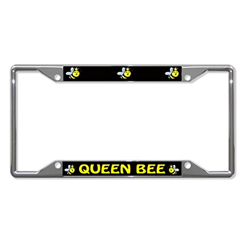Queen BEE Animal Metal License Plate Frame Tag Holder Four Holes Perfect for Men Women Car garadge Decor ()