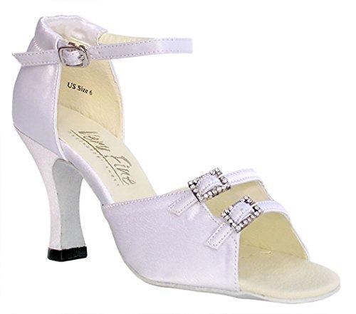 Très Belle Salsa Chaussures De Danse De Salon Pour Femmes 1620 Largeur Réglable 2.5 Talon Blanc Satin