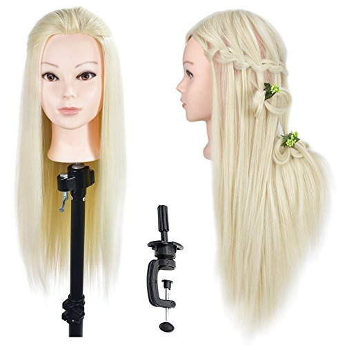 "Beauty : 26""- 28"" Cosmetology Mannequin Head Hair Styling Training Head Synthetic Fiber Manikin Head Doll Head with Free Clamp"