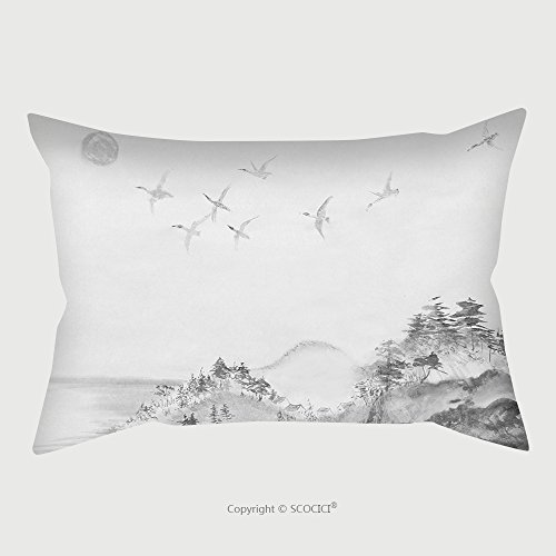 Custom Satin Pillowcase Protector Migration Of Ducks From Japan To The South 393608986 Pillow Case Covers Decorative by chaoran