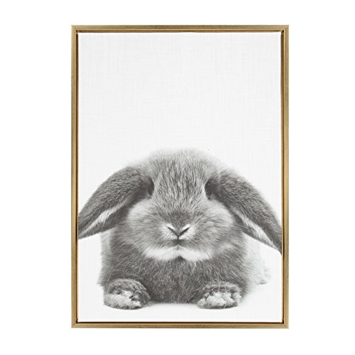 Gold Rabbit (Kate and Laurel - Sylvie Rabbit Animal Print Black and White Portrait Framed Canvas Wall Art by Simon Te Tai, Gold 23x33)