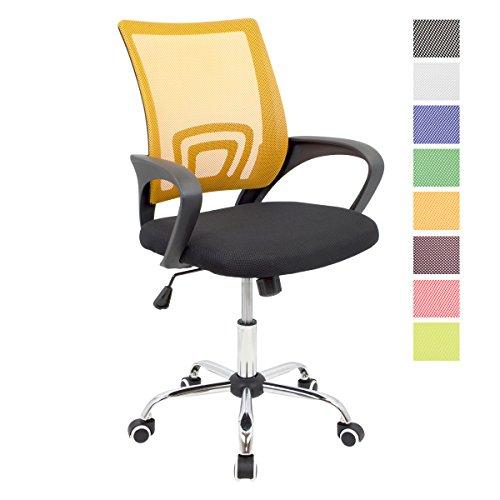 CashOffice - Silla de Escritorio Ergonomica, Silla de Oficina Giratoria con Respaldo Transpirable (Naranja)