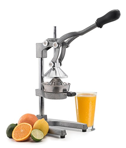 Manual Fruit Juicer - Commercial Grade Home Citrus Hand Squeezer for Oranges, Lemons, Limes, Grapefruits and More - Stainless Steel and Cast Iron - by Vollum