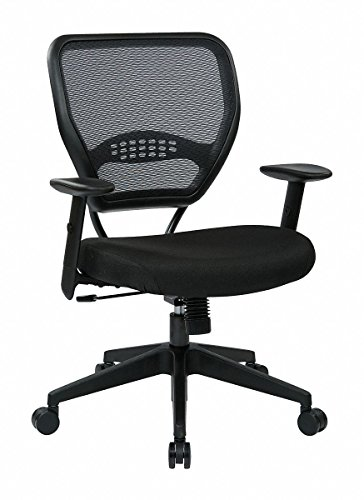 Grid Fabric Air Chair - SPACE Professional Air Grid Matrex Mid-Back Managerial Chair with Arms Fabric: Icon - Black