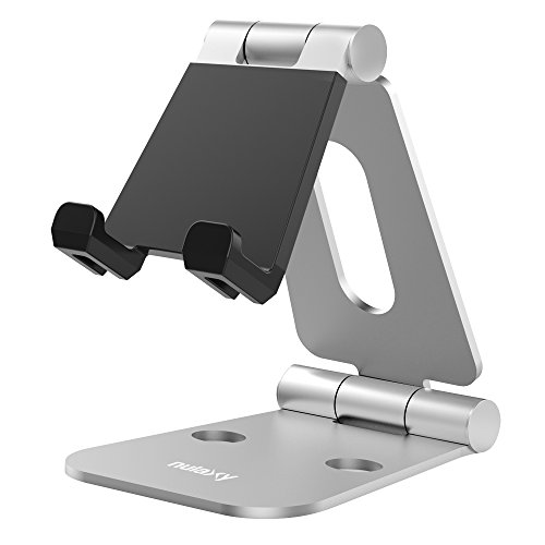 Price comparison product image Nulaxy Dual Foldable Aluminum Stand, Multi-Angle Cell Phone Tablet Video Game Stand for Nintendo Switch iPhone 7 6 Plus 5 5c, Accessories, iPad Universal for All Other Tablets Phones-Silver