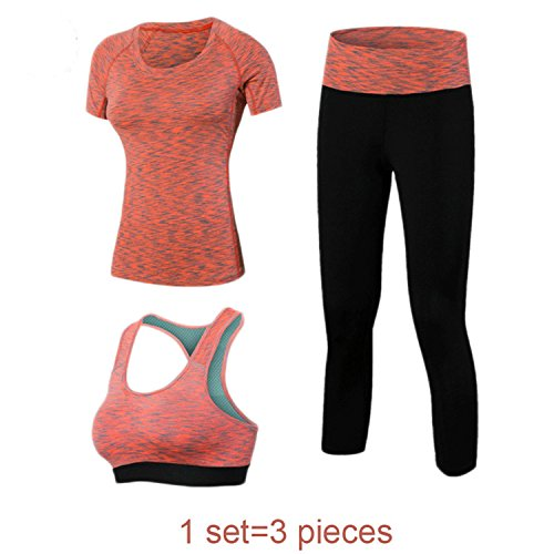 Costume Hire Cape Town (MOVING NOW Women Fitness Yoga Set T-Shirt & Bra & Cropped Trousers Sport Set Gym Clothes Training Suit quick dry 2017 blueM)