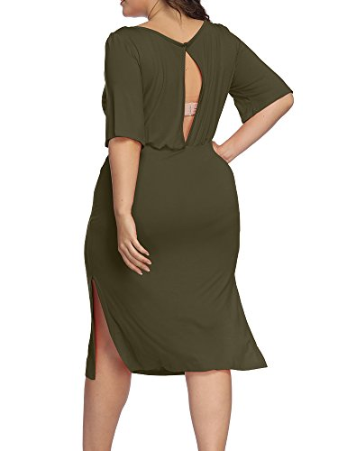 Scoop Dress Allegrace Neck Plus Midi Green Open Cocktail Back Dresses Party Women Split Size Sleeve Army Half PzwfUPqH