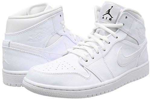 Nike Mænds Air Jordan 1 Midten Basketball Sko Hvid Hvid Sort x9qxwD