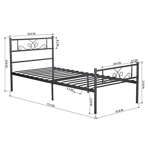 simlife twin size metal bed frame with headboard and footboard mattress foundation platform bed. Black Bedroom Furniture Sets. Home Design Ideas