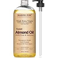 Majestic Pure Sweet Almond Oil, Super Triple A Grade Grade, 100% Pure and Natural from Spain, Prensado en frío, 16 fl oz.