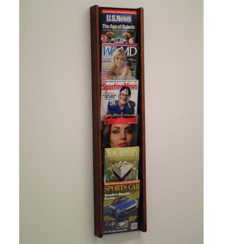 DMD Magazine Rack, Literature Wall Display, 6 Pocket Solid Oak and Acrylic, Mahogany Wood Finish