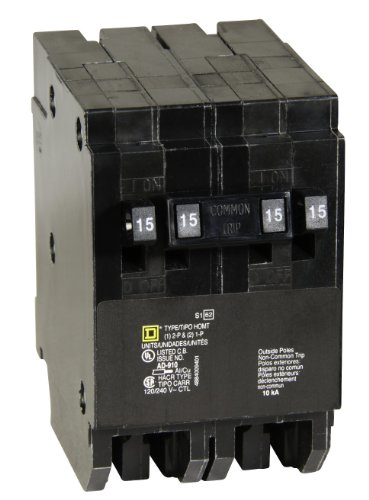 Square D by Schneider Electric HOMT1515215CP Homeline 2-15-Amp Single-Pole 1-15-Amp Two-Pole Quad Circuit Breaker
