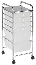 ECR4Kids 6-Drawer Mobile Organizer, White
