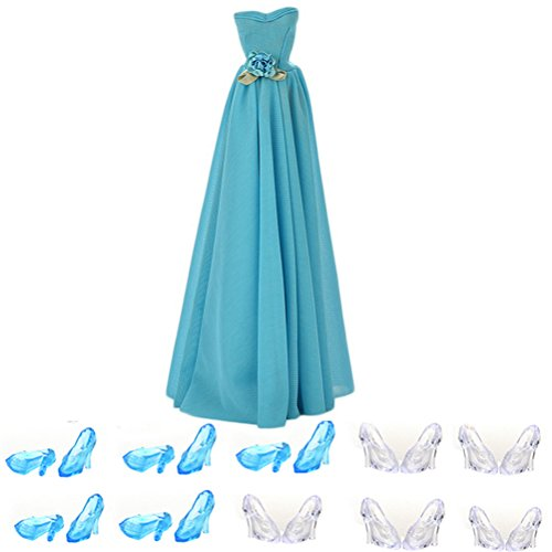 Buytra Fashion Handmade Clothes Party Dresses Gown Outfit with Flowers 10 Pairs Crystal Shoes for Barbie Doll Girls Birthday Xmas Gift
