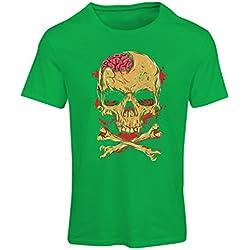 Camiseta mujer La calavera (Medium Verde Multicolor)
