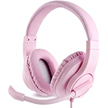 Meedasy Over-ear Gaming Headphone with 3.5mm Bass Stereo, PS4 Gaming Headset with Microphone and Volume Control for Xbox One, PS4, Smartphones Laptop and PC, Wired Noise Isolation (pink)