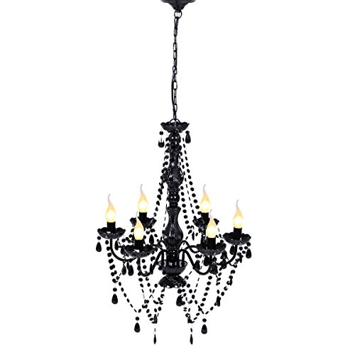 Framed Oval Pendant (Black Acrylic crystal Lighting Ceiling Chandelier With Ebook)